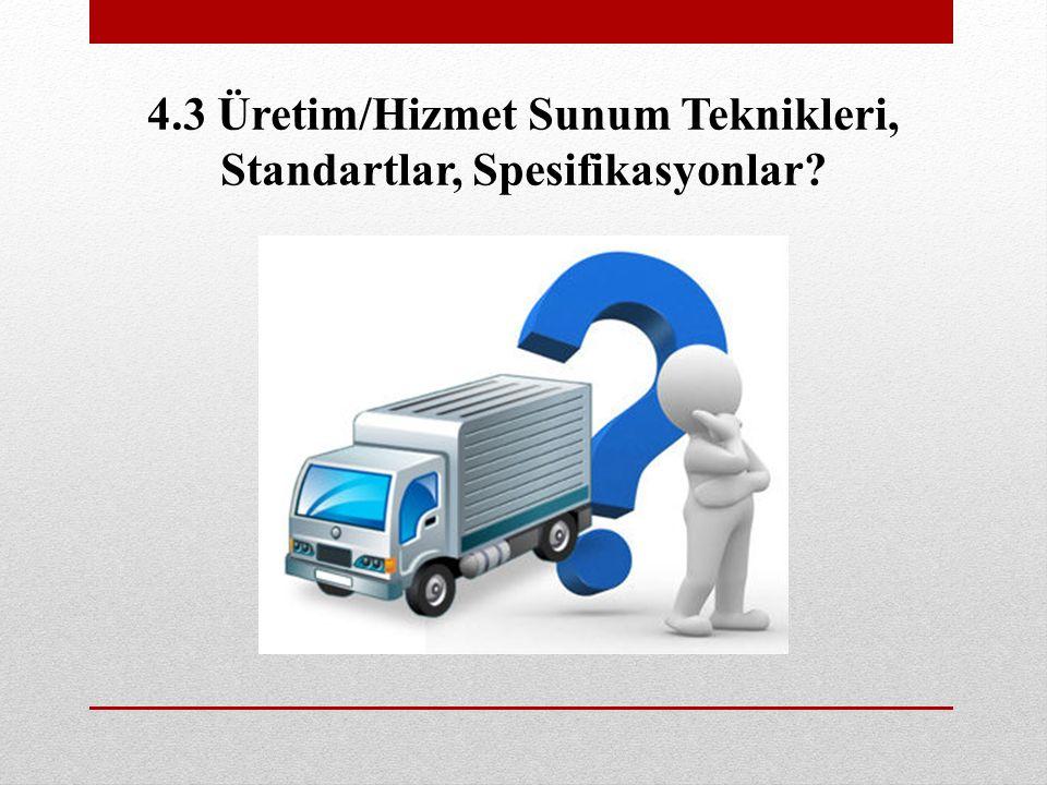 4.3 Üretim/Hizmet Sunum Teknikleri, Standartlar, Spesifikasyonlar?