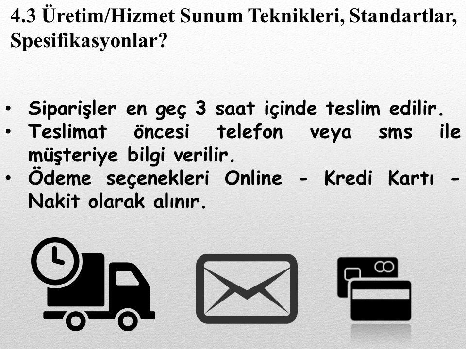 Siparişler en geç 3 saat içinde teslim edilir. Teslimat öncesi telefon veya sms ile müşteriye bilgi verilir. Ödeme seçenekleri Online - Kredi Kartı -