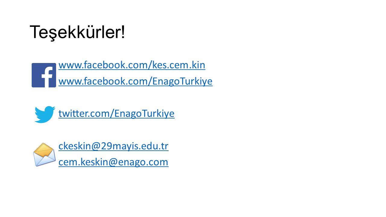 Teşekkürler! www.facebook.com/kes.cem.kin www.facebook.com/EnagoTurkiye twitter.com/EnagoTurkiye ckeskin@29mayis.edu.tr cem.keskin@enago.com