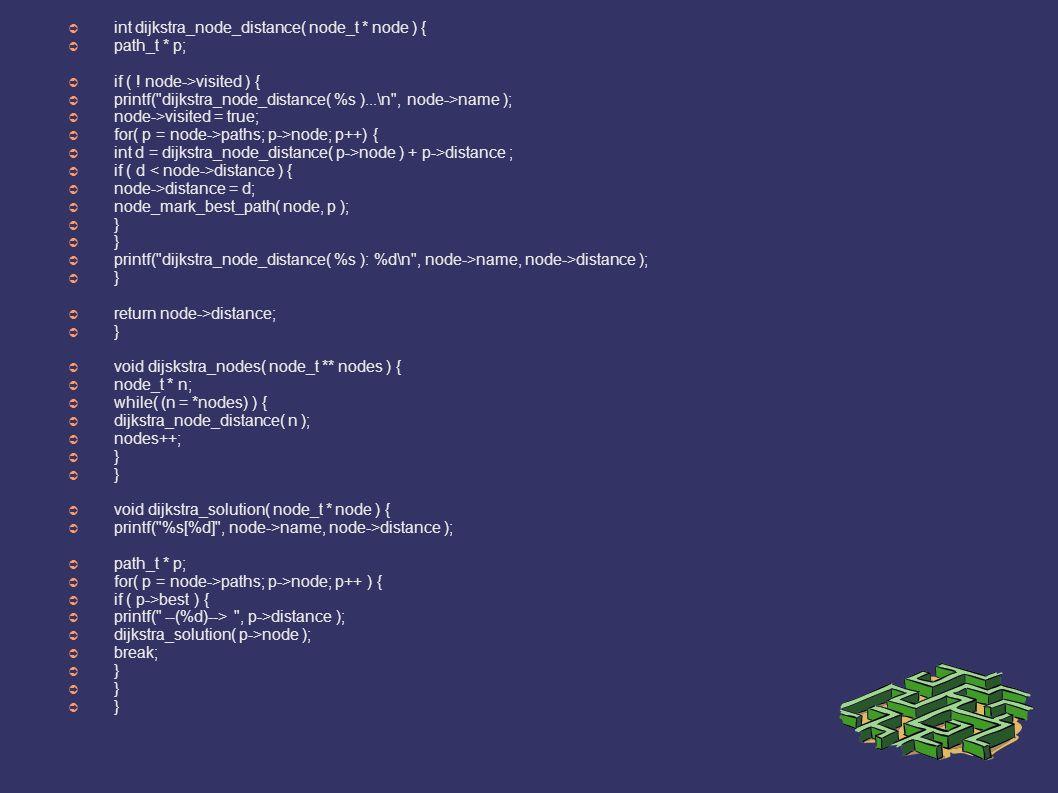 ➲ int dijkstra_node_distance( node_t * node ) { ➲ path_t * p; ➲ if ( ! node->visited ) { ➲ printf(