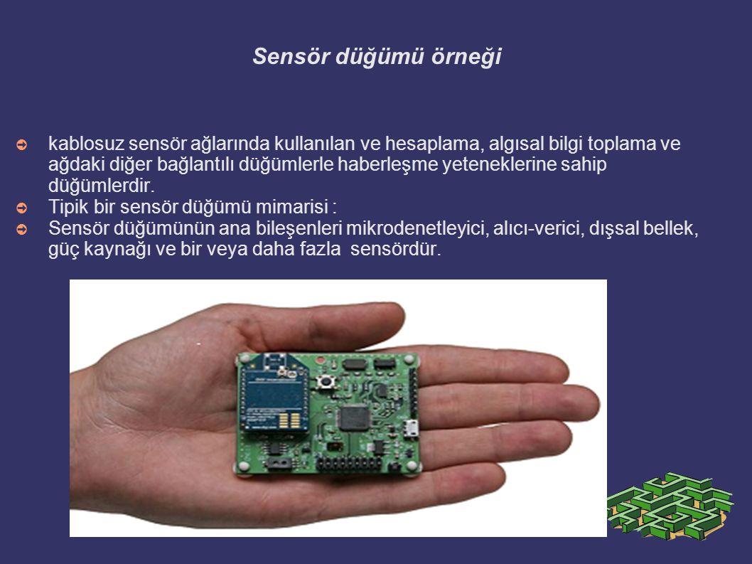 Sensör düğümü örneği ➲ kablosuz sensör ağlarında kullanılan ve hesaplama, algısal bilgi toplama ve ağdaki diğer bağlantılı düğümlerle haberleşme yeten