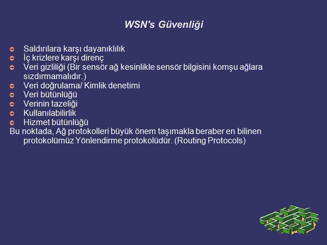 WSN's Güvenliği ➲ Saldırılara karşı dayanıklılık ➲ İç krizlere karşı direnç ➲ Veri gizliliği (Bir sensör ağ kesinlikle sensör bilgisini komşu ağlara s