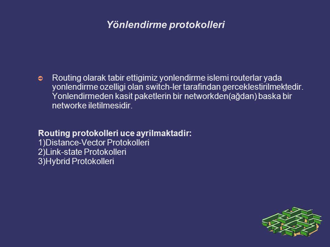 Yönlendirme protokolleri ➲ Routing olarak tabir ettigimiz yonlendirme islemi routerlar yada yonlendirme ozelligi olan switch-ler tarafindan gerceklest