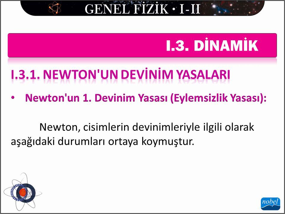 Newton, cisimlerin devinimleriyle ilgili olarak aşağıdaki durumları ortaya koymuştur.