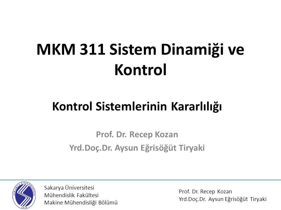 MKM 311 Sistem Dinamiği ve Kontrol Kontrol Sistemlerinin Kararlılığı Prof. Dr. Recep Kozan Yrd.Doç.Dr. Aysun Eğrisöğüt Tiryaki Sakarya Üniversitesi Mü
