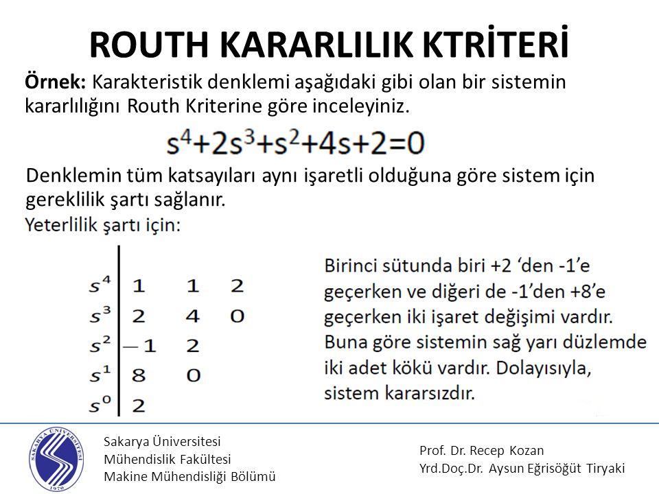 Sakarya Üniversitesi Mühendislik Fakültesi Makine Mühendisliği Bölümü ROUTH KARARLILIK KTRİTERİ Örnek: Karakteristik denklemi aşağıdaki gibi olan bir