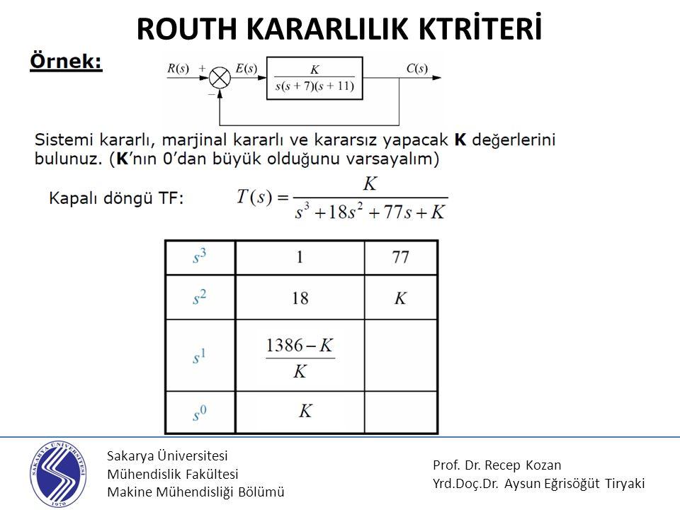 Sakarya Üniversitesi Mühendislik Fakültesi Makine Mühendisliği Bölümü ROUTH KARARLILIK KTRİTERİ Prof. Dr. Recep Kozan Yrd.Doç.Dr. Aysun Eğrisöğüt Tiry