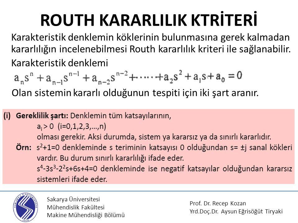 Sakarya Üniversitesi Mühendislik Fakültesi Makine Mühendisliği Bölümü ROUTH KARARLILIK KTRİTERİ Karakteristik denklemin köklerinin bulunmasına gerek k