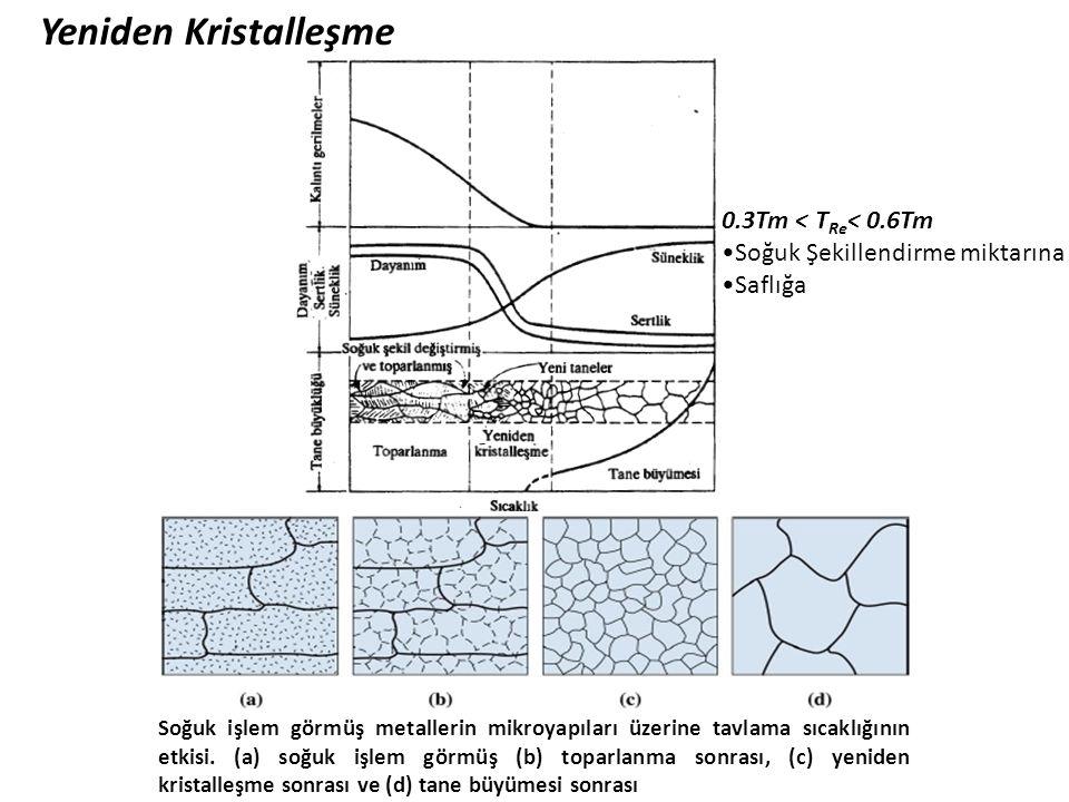 Yeniden Kristalleşme Soğuk işlem görmüş metallerin mikroyapıları üzerine tavlama sıcaklığının etkisi. (a) soğuk işlem görmüş (b) toparlanma sonrası, (