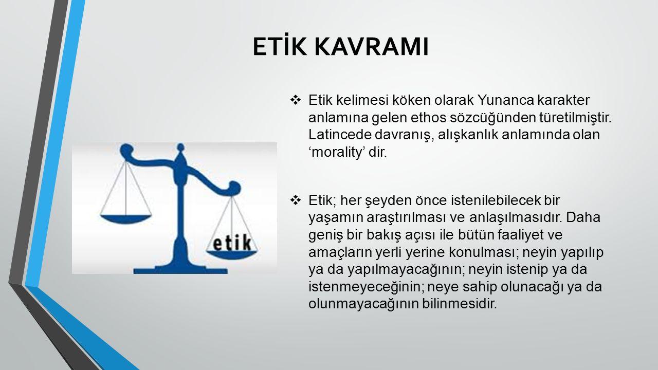 ETİK KAVRAMI ❖ Etik kelimesi köken olarak Yunanca karakter anlamına gelen ethos sözcüğünden türetilmiştir.
