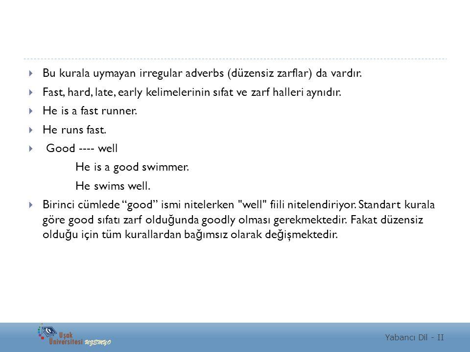 Yabancı Dil - II  Bu kurala uymayan irregular adverbs (düzensiz zarflar) da vardır.  Fast, hard, late, early kelimelerinin sıfat ve zarf halleri ayn