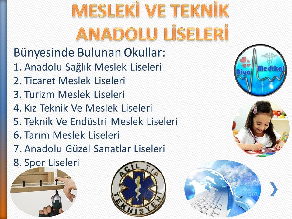 Bünyesinde Bulunan Okullar: 1.Anadolu Sağlık Meslek Liseleri 2.Ticaret Meslek Liseleri 3.Turizm Meslek Liseleri 4.Kız Teknik Ve Meslek Liseleri 5.Tekn