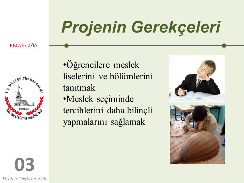 0303 Projenin Gerekçeleri Öğrencilere meslek liselerini ve bölümlerini tanıtmak Meslek seçiminde tercihlerini daha bilinçli yapmalarını sağlamak Strat