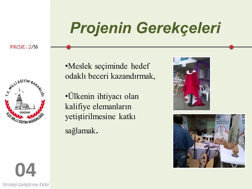 0404 Projenin Gerekçeleri Meslek seçiminde hedef odaklı beceri kazandırmak, Ülkenin ihtiyacı olan kalifiye elemanların yetiştirilmesine katkı sağlamak