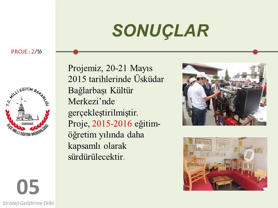 0505 SONUÇLAR Projemiz, 20-21 Mayıs 2015 tarihlerinde Üsküdar Bağlarbaşı Kültür Merkezi'nde gerçekleştirilmiştir. Proje, 2015-2016 eğitim- öğretim yıl