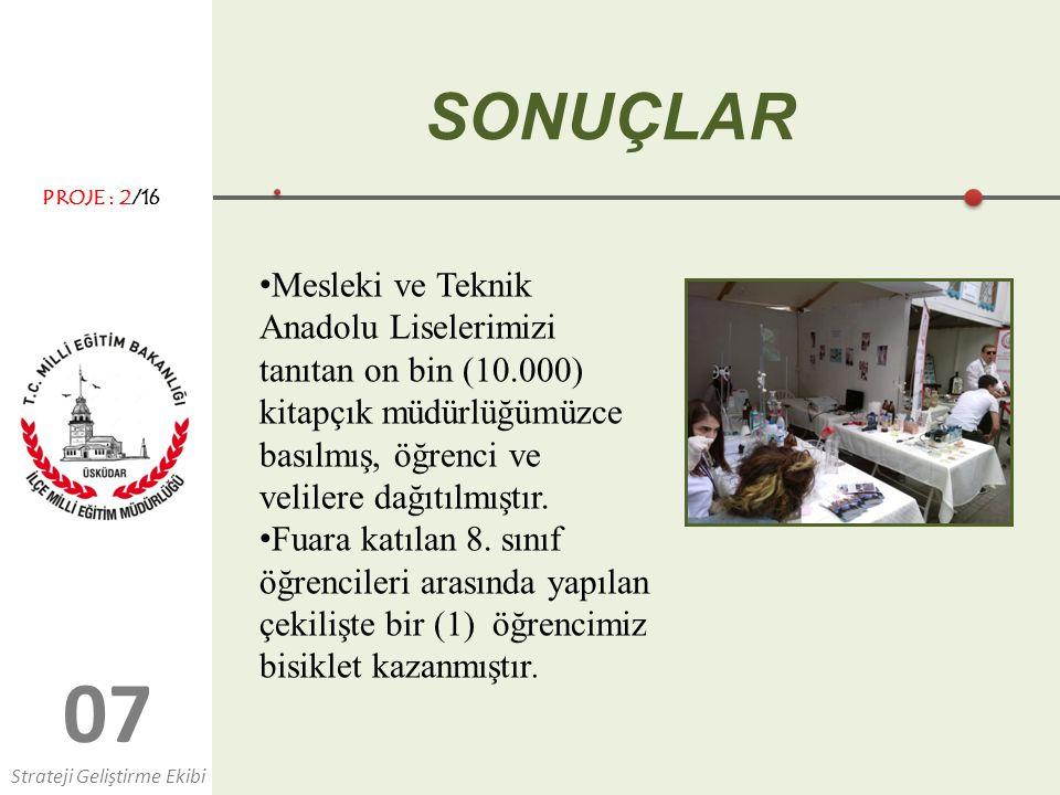 0707 SONUÇLAR Mesleki ve Teknik Anadolu Liselerimizi tanıtan on bin (10.000) kitapçık müdürlüğümüzce basılmış, öğrenci ve velilere dağıtılmıştır.