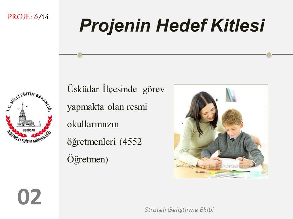 0202 Strateji Geliştirme Ekibi Projenin Hedef Kitlesi Üsküdar İlçesinde görev yapmakta olan resmi okullarımızın öğretmenleri (4552 Öğretmen) PROJE : 6/14