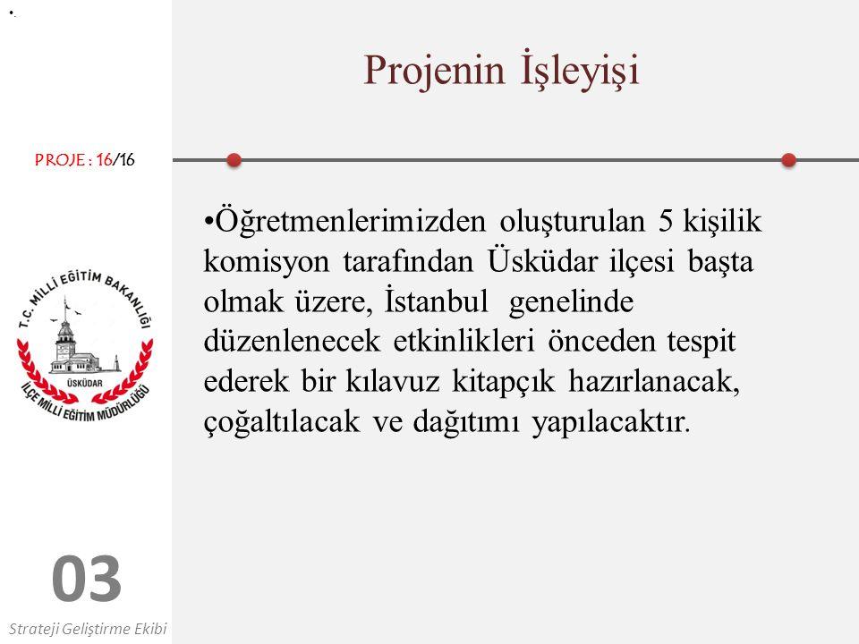 0303 Projenin İşleyişi. Öğretmenlerimizden oluşturulan 5 kişilik komisyon tarafından Üsküdar ilçesi başta olmak üzere, İstanbul genelinde düzenlenecek