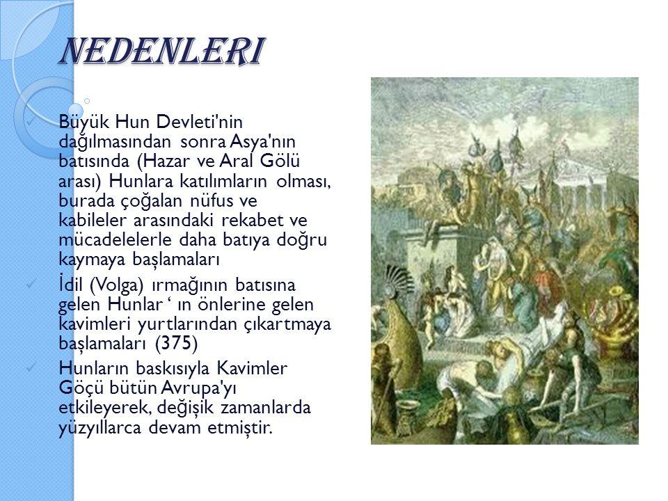 Nedenleri Büyük Hun Devleti'nin da ğ ılmasından sonra Asya'nın batısında (Hazar ve Aral Gölü arası) Hunlara katılımların olması, burada ço ğ alan nüf