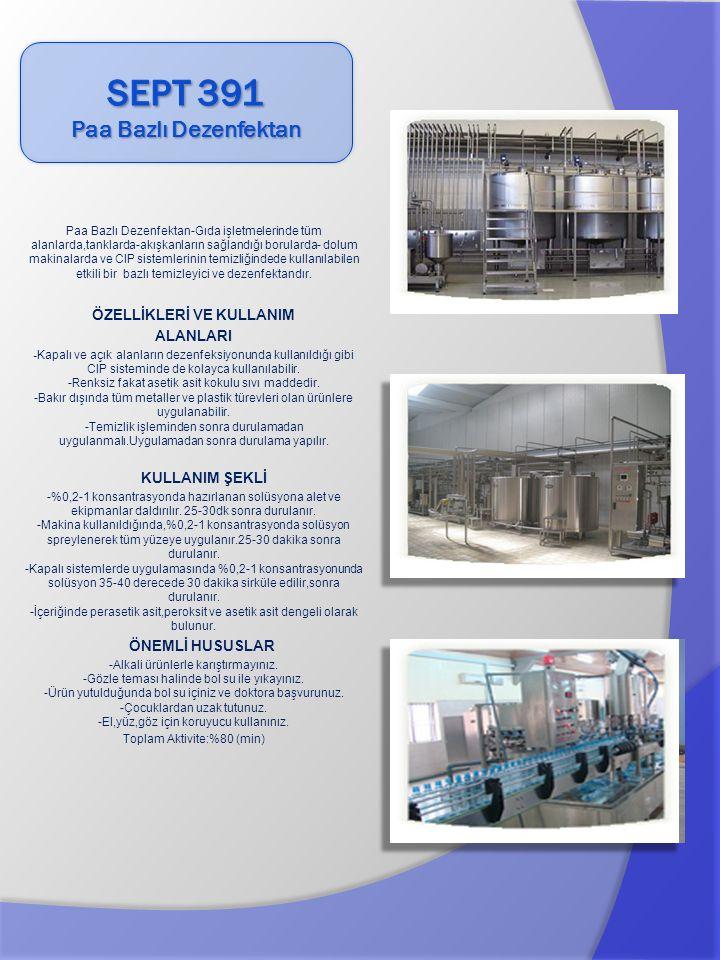 Paa Bazlı Dezenfektan-Gıda işletmelerinde tüm alanlarda,tanklarda-akışkanların sağlandığı borularda- dolum makinalarda ve CIP sistemlerinin temizliğindede kullanılabilen etkili bir bazlı temizleyici ve dezenfektandır.