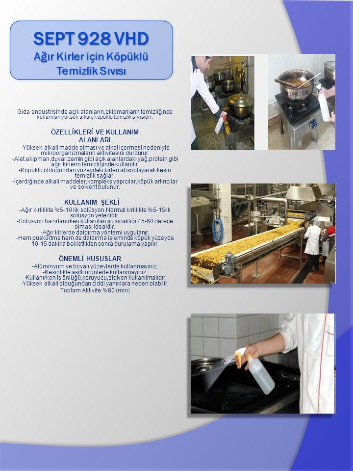 Gıda endüstrisinde açık alanların,ekipmanların temizliğinde kullanılan yüksek alkali, köpüklü temizlik sıvısıdır.