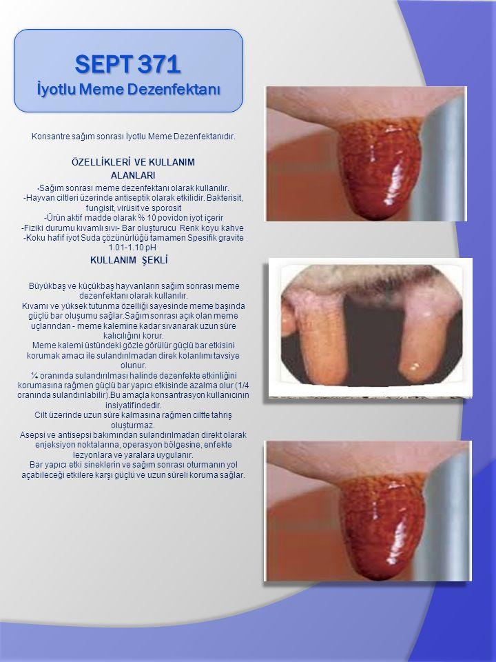 Konsantre sağım sonrası İyotlu Meme Dezenfektanıdır. ÖZELLİKLERİ VE KULLANIM ALANLARI Sağım sonrası meme dezenfektanı olarak kullanılır. -Hayvan ciltl