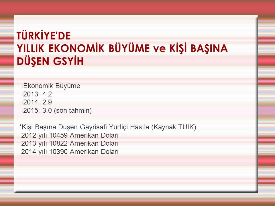 TÜRKİYE'DE YILLIK EKONOMİK BÜYÜME ve KİŞİ BAŞINA DÜŞEN GSYİH Ekonomik Büyüme 2013: 4.2 2014: 2.9 2015: 3.0 (son tahmin) *Kişi Başına Düşen Gayrisafi Y