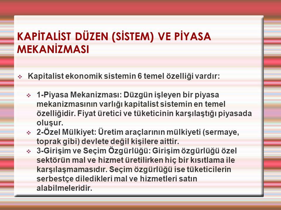 KAPİTALİST DÜZEN (SİSTEM) VE PİYASA MEKANİZMASI  Kapitalist ekonomik sistemin 6 temel özelliği vardır:  1-Piyasa Mekanizması: Düzgün işleyen bir piy