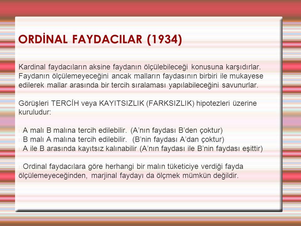 ORDİNAL FAYDACILAR (1934) Kardinal faydacıların aksine faydanın ölçülebileceği konusuna karşıdırlar. Faydanın ölçülemeyeceğini ancak malların faydasın