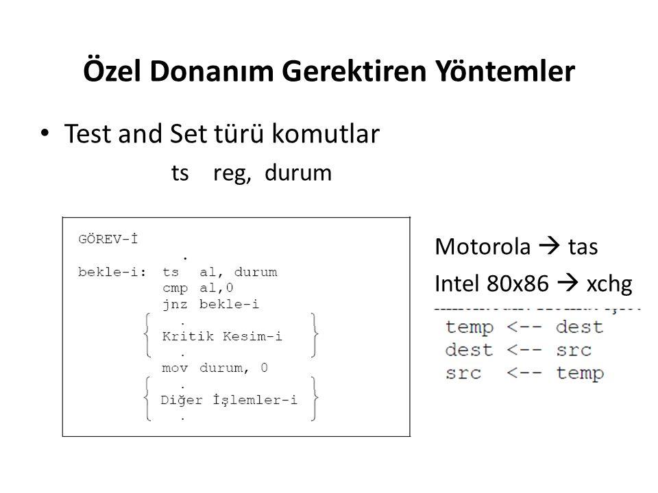 Özel Donanım Gerektiren Yöntemler Test and Set türü komutlar ts reg, durum Motorola  tas Intel 80x86  xchg