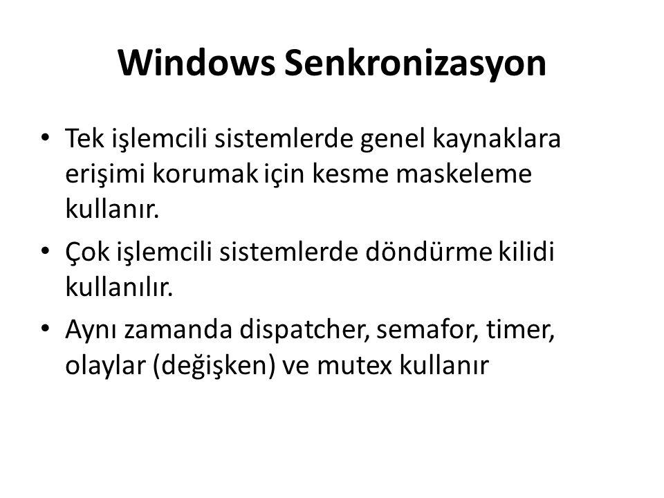 Windows Senkronizasyon Tek işlemcili sistemlerde genel kaynaklara erişimi korumak için kesme maskeleme kullanır. Çok işlemcili sistemlerde döndürme ki