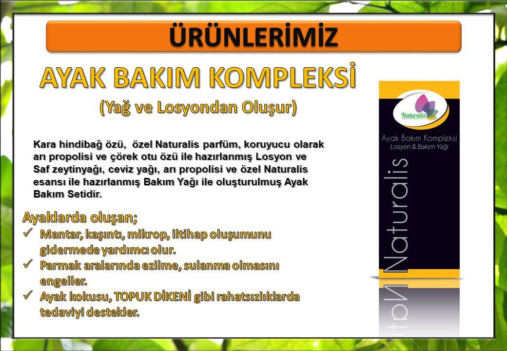 Kara hindibağ özü, özel Naturalis parfüm, koruyucu olarak arı propolisi ve çörek otu özü ile hazırlanmış Losyon ve Saf zeytinyağı, ceviz yağı, arı pro
