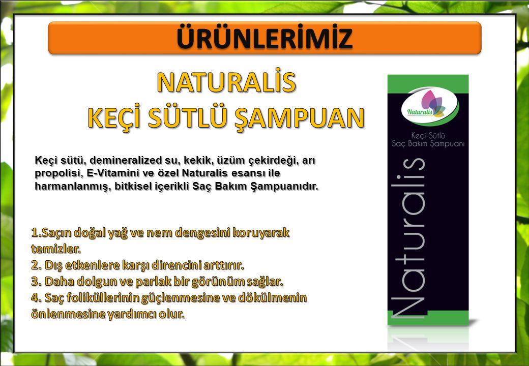 Keçi sütü, demineralized su, kekik, üzüm çekirdeği, arı propolisi, E-Vitamini ve özel Naturalis esansı ile harmanlanmış, bitkisel içerikli Saç Bakım Ş