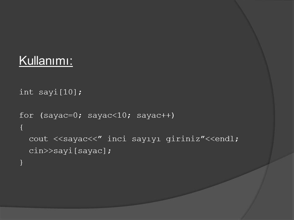 Örnek: Klavyeden bilgisayara girilen 10 adet sayıyı toplayan ve toplamla birlikte sayıları ekranda listeleyen bir program yazınız.