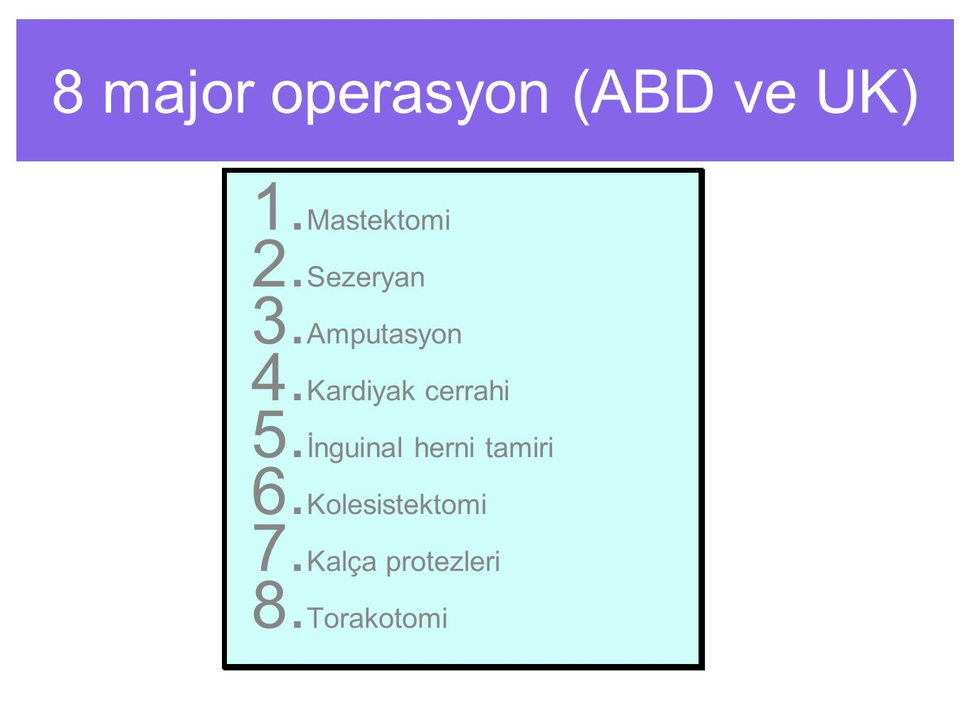 8 major operasyon (ABD ve UK) 1.Mastektomi 2. Sezeryan 3.
