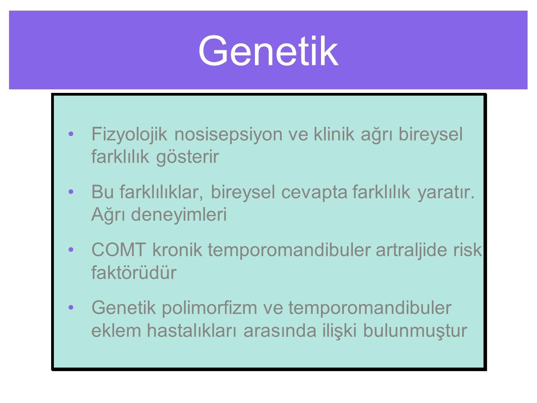 Genetik Fizyolojik nosisepsiyon ve klinik ağrı bireysel farklılık gösterir Bu farklılıklar, bireysel cevapta farklılık yaratır.