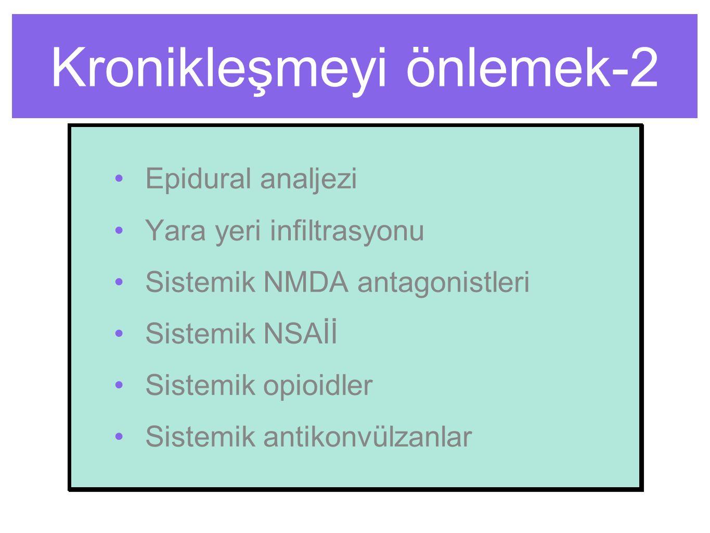 Kronikleşmeyi önlemek-2 Epidural analjezi Yara yeri infiltrasyonu Sistemik NMDA antagonistleri Sistemik NSAİİ Sistemik opioidler Sistemik antikonvülzanlar Epidural analjezi Yara yeri infiltrasyonu Sistemik NMDA antagonistleri Sistemik NSAİİ Sistemik opioidler Sistemik antikonvülzanlar