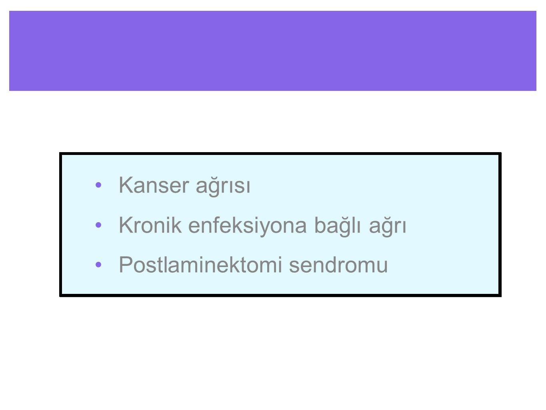 Kanser ağrısı Kronik enfeksiyona bağlı ağrı Postlaminektomi sendromu Kanser ağrısı Kronik enfeksiyona bağlı ağrı Postlaminektomi sendromu