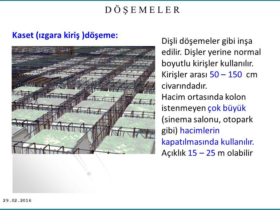 D Ö Ş E M E L E R Kaset (ızgara kiriş )döşeme: Dişli döşemeler gibi inşa edilir.