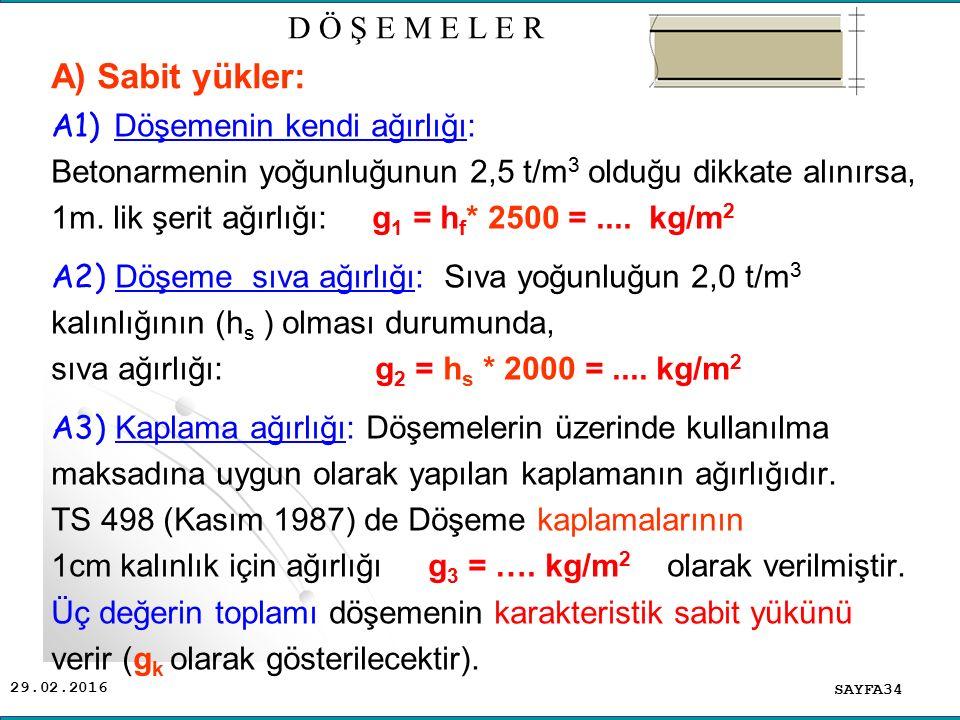 29.02.2016 A1) Döşemenin kendi ağırlığı: Betonarmenin yoğunluğunun 2,5 t/m 3 olduğu dikkate alınırsa, 1m.