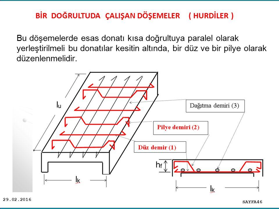 29.02.2016 Bu döşemelerde esas donatı kısa doğrultuya paralel olarak yerleştirilmeli bu donatılar kesitin altında, bir düz ve bir pilye olarak düzenle