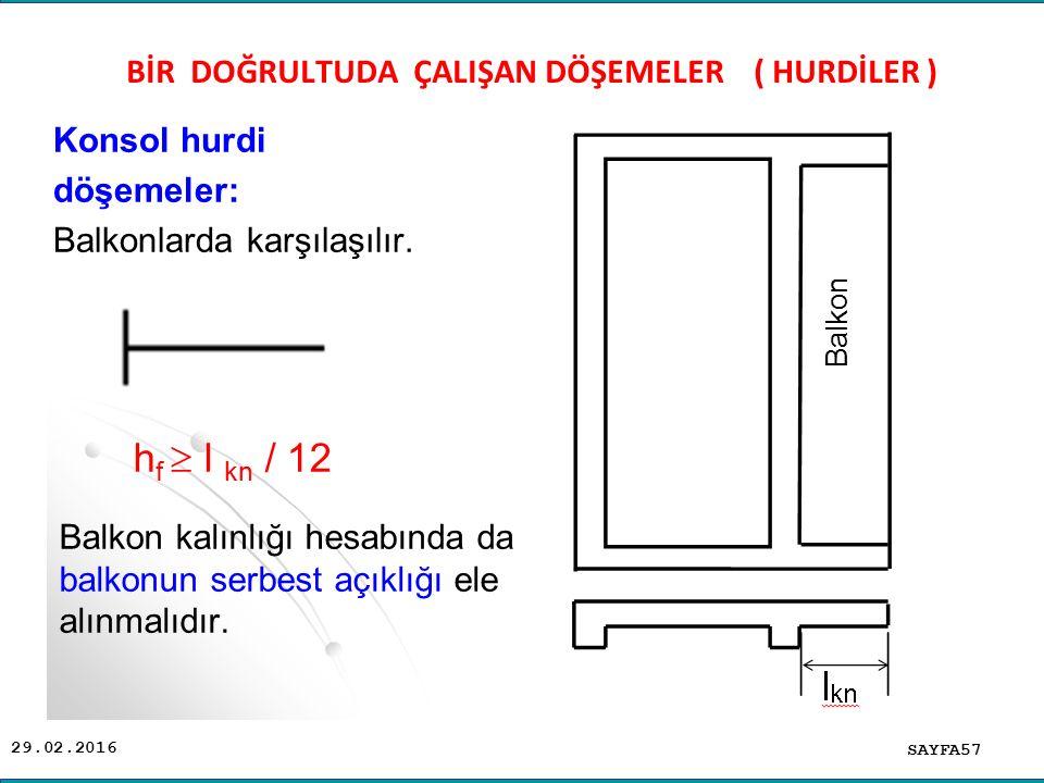 29.02.2016 Konsol hurdi döşemeler: Balkonlarda karşılaşılır. SAYFA57 BİR DOĞRULTUDA ÇALIŞAN DÖŞEMELER ( HURDİLER ) Balkon kalınlığı hesabında da balko