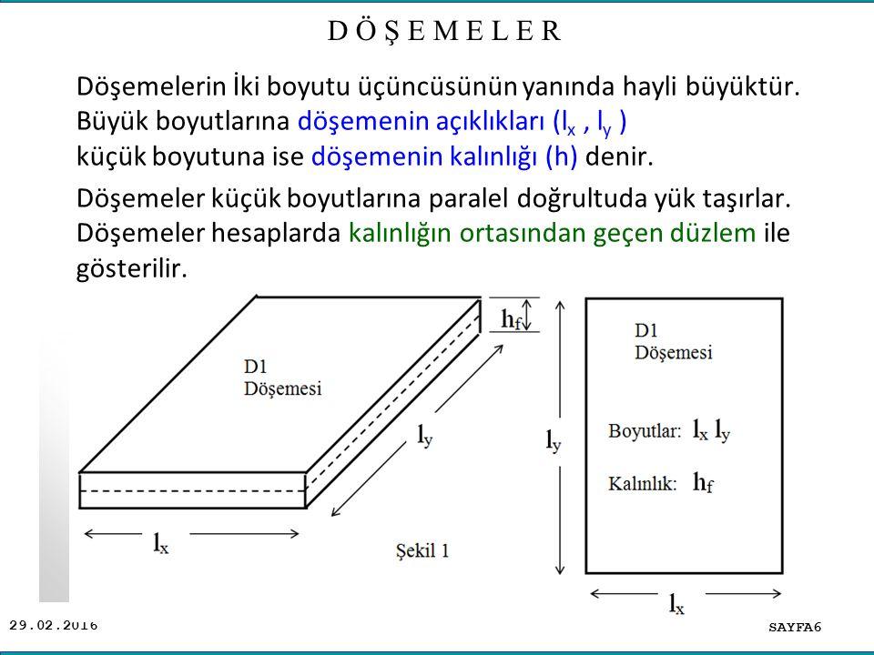 29.02.2016 Döşemelerin İki boyutu üçüncüsünün yanında hayli büyüktür. Büyük boyutlarına döşemenin açıklıkları (l x, l y ) küçük boyutuna ise döşemenin