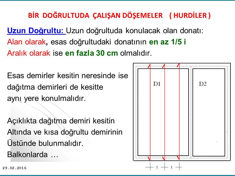 29.02.2016 Uzun Doğrultu: Uzun doğrultuda konulacak olan donatı: Alan olarak, esas doğrultudaki donatının en az 1/5 i Aralık olarak ise en fazla 30 cm olmalıdır.