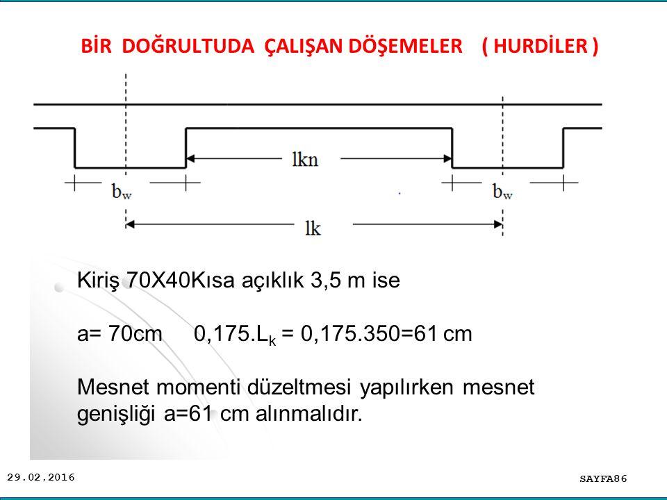 29.02.2016 SAYFA86 BİR DOĞRULTUDA ÇALIŞAN DÖŞEMELER ( HURDİLER ) Kiriş 70X40Kısa açıklık 3,5 m ise a= 70cm 0,175.L k = 0,175.350=61 cm Mesnet momenti düzeltmesi yapılırken mesnet genişliği a=61 cm alınmalıdır.