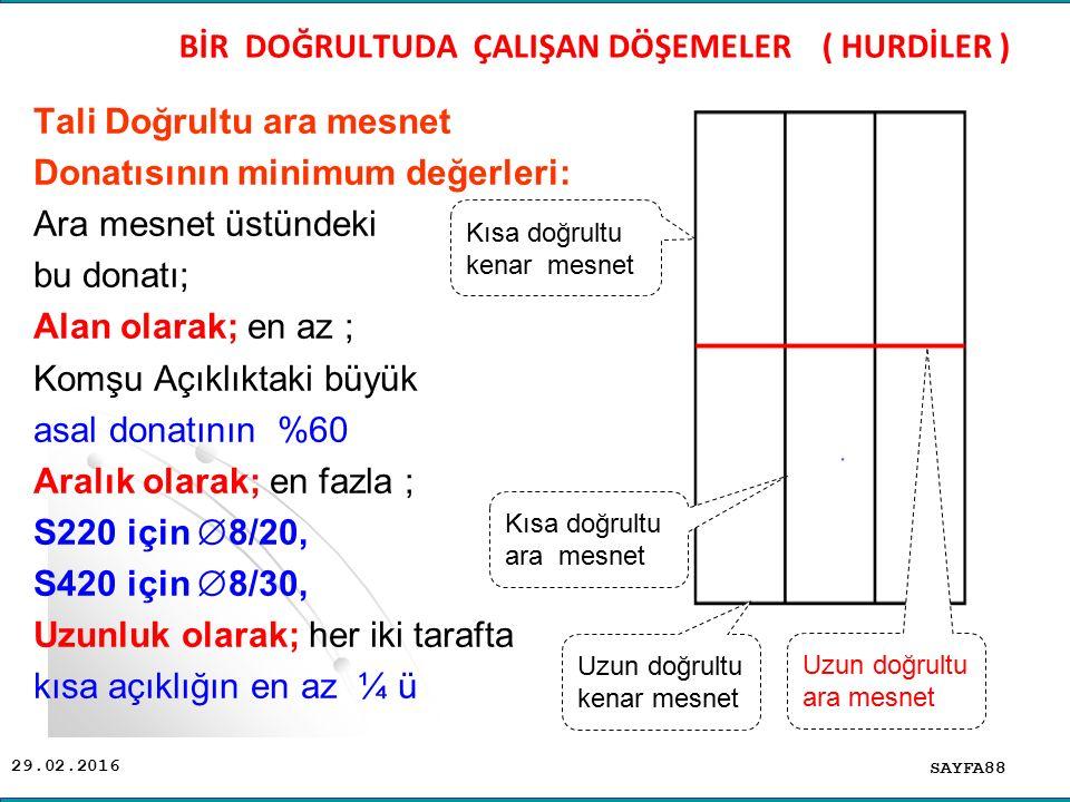 29.02.2016 Tali Doğrultu ara mesnet Donatısının minimum değerleri: Ara mesnet üstündeki bu donatı; Alan olarak; en az ; Komşu Açıklıktaki büyük asal d