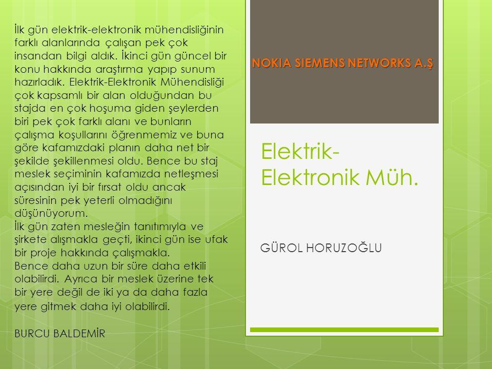 Elektrik- Elektronik Müh. GÜROL HORUZOĞLU İlk gün elektrik-elektronik mühendisliğinin farklı alanlarında çalışan pek çok insandan bilgi aldık. İkinci