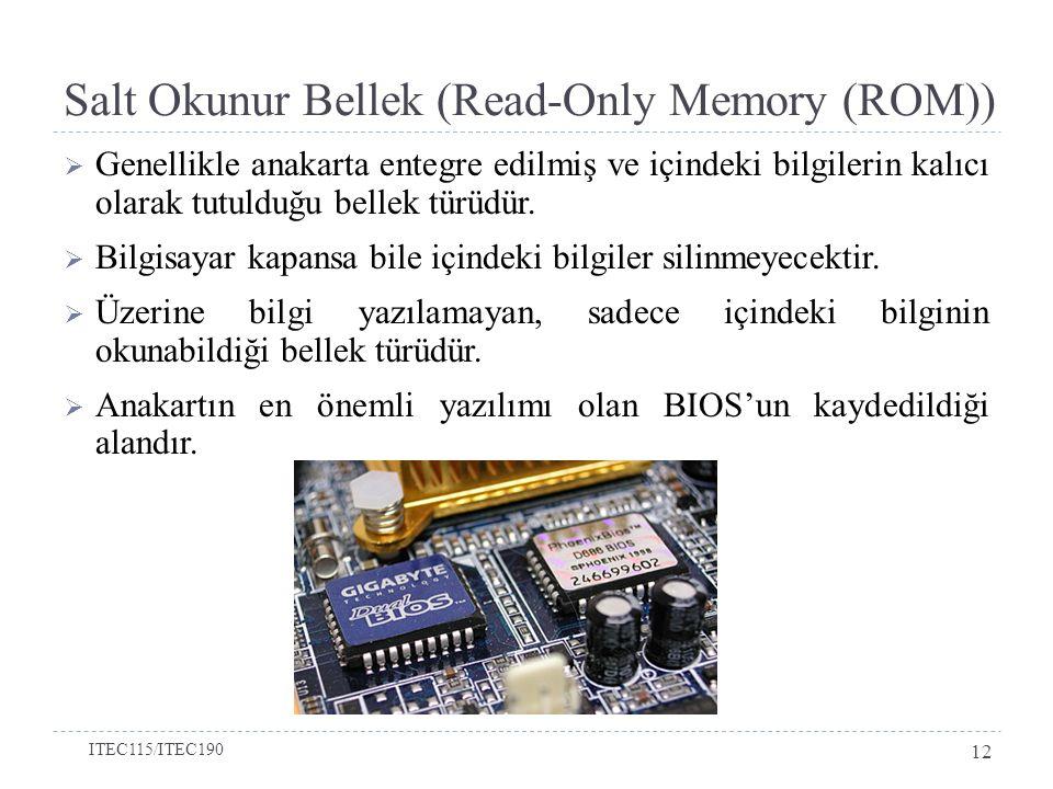 Salt Okunur Bellek (Read-Only Memory (ROM))  Genellikle anakarta entegre edilmiş ve içindeki bilgilerin kalıcı olarak tutulduğu bellek türüdür.