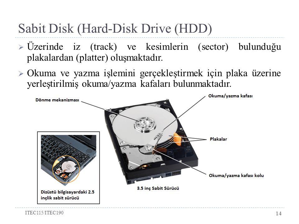 Sabit Disk (Hard-Disk Drive (HDD)  Üzerinde iz (track) ve kesimlerin (sector) bulunduğu plakalardan (platter) oluşmaktadır.