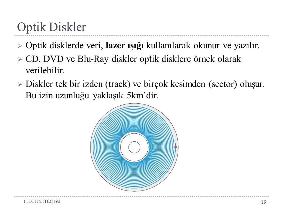 Optik Diskler  Optik disklerde veri, lazer ışığı kullanılarak okunur ve yazılır.
